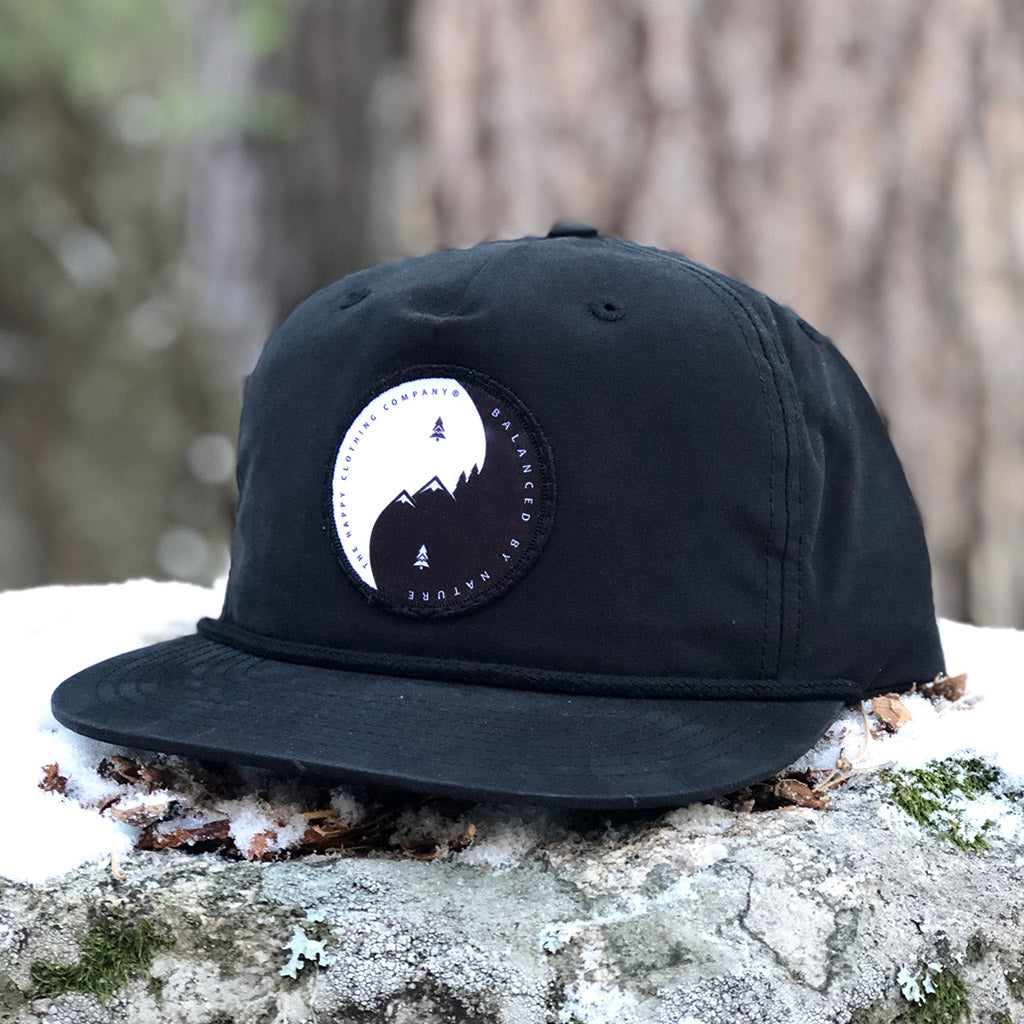 Balanced By Nature Printed Patch <br> 5 Panel Vintage Cap with Rope - The Happy Clothing Company... Outdoor apparel with a cause.