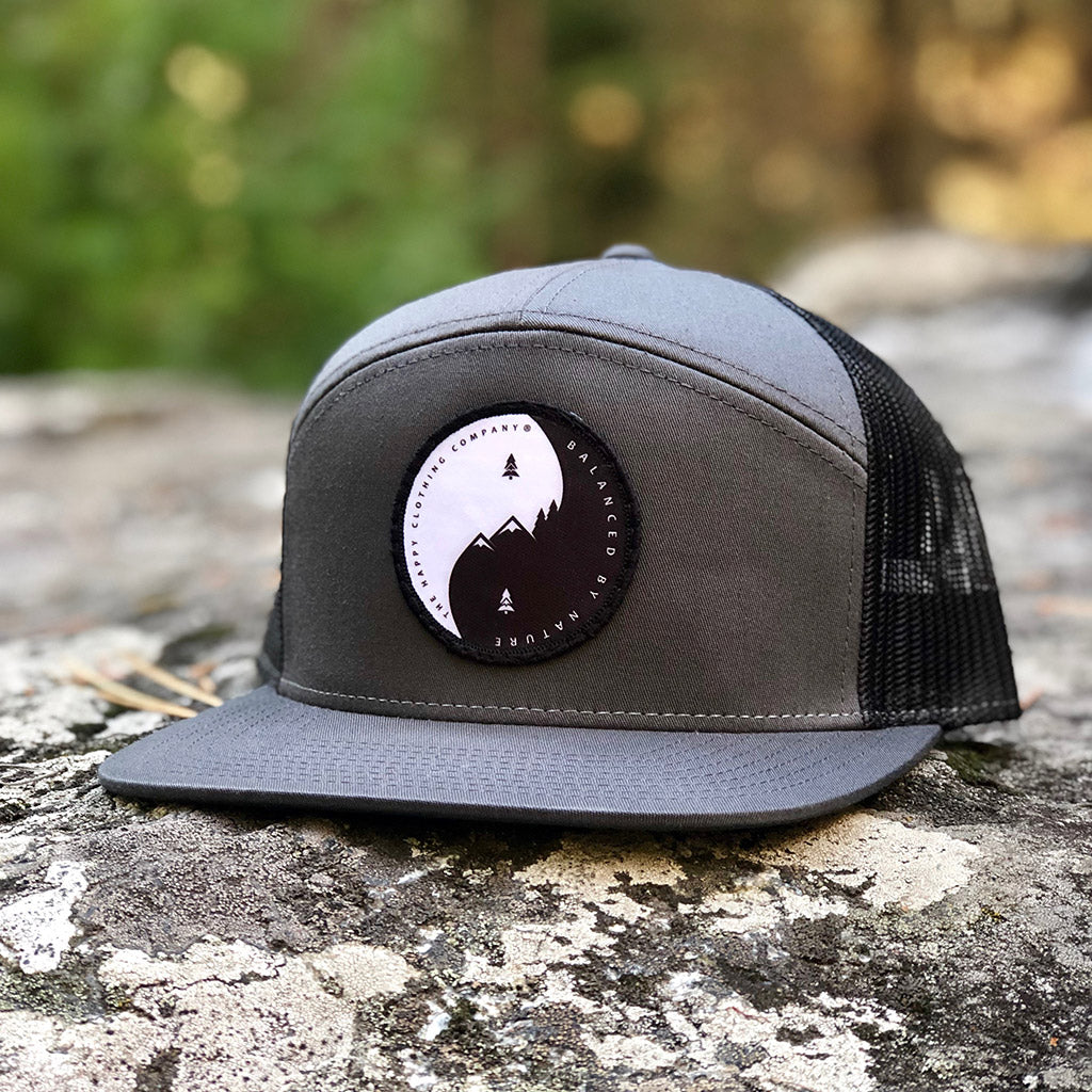 Balanced By Nature Printed Patch <br> 7 Panel Cap - The Happy Clothing Company... Outdoor apparel with a cause.