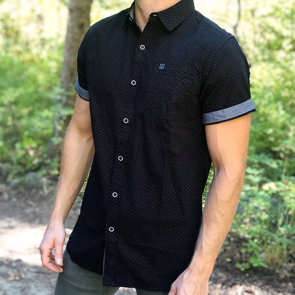 Men's Branded <br> Printed Poplin Short Sleeve Button-Up - The Happy Clothing Company