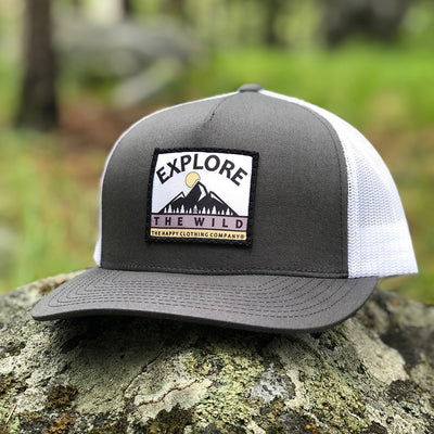 Explore The Wild Printed Patch <br> Mid-Profile Snapback - The Happy Clothing Company... Outdoor apparel with a cause.