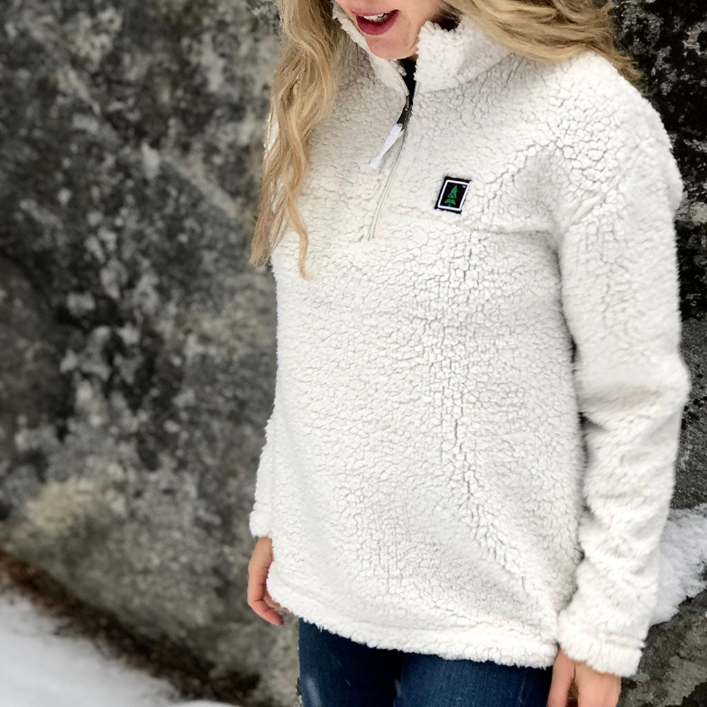 Mountain Tree Printed Patch <br> Unisex Fit Quarter Zip Sherpa - The Happy Clothing Company... Outdoor apparel with a cause.