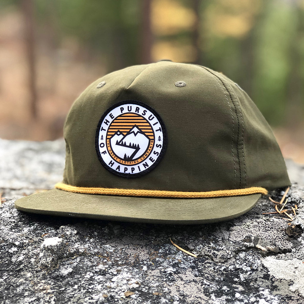 The Pursuit Of Happiness Printed Patch <br> 5 Panel Vintage Cap with Rope - The Happy Clothing Company... Outdoor apparel with a cause.