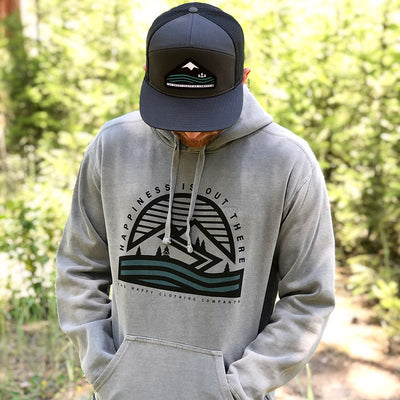 Happiness Is Out There Inspired-Dye <br> Unisex Midweight Hooded Sweatshirt - The Happy Clothing Company... Outdoor apparel with a cause.
