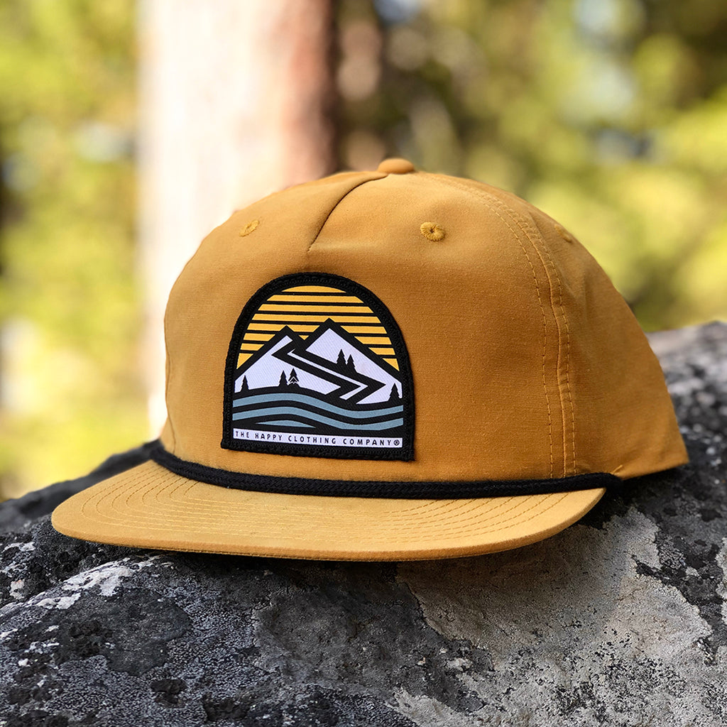 Happiness Is Out There Printed Patch <br> 5 Panel Vintage Cap with Rope