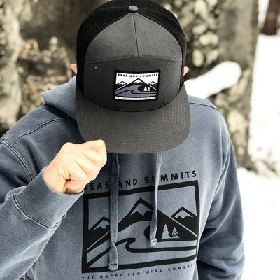 Seas and Summits Printed Patch <br> 7 Panel Cap - The Happy Clothing Company... Outdoor apparel with a cause.