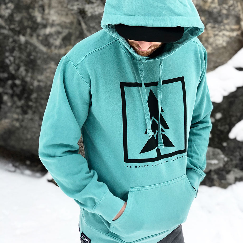Mountain-Tree Inspired-Dye <br> Unisex Heavyweight Hooded Sweatshirt - The Happy Clothing Company... Outdoor apparel with a cause.