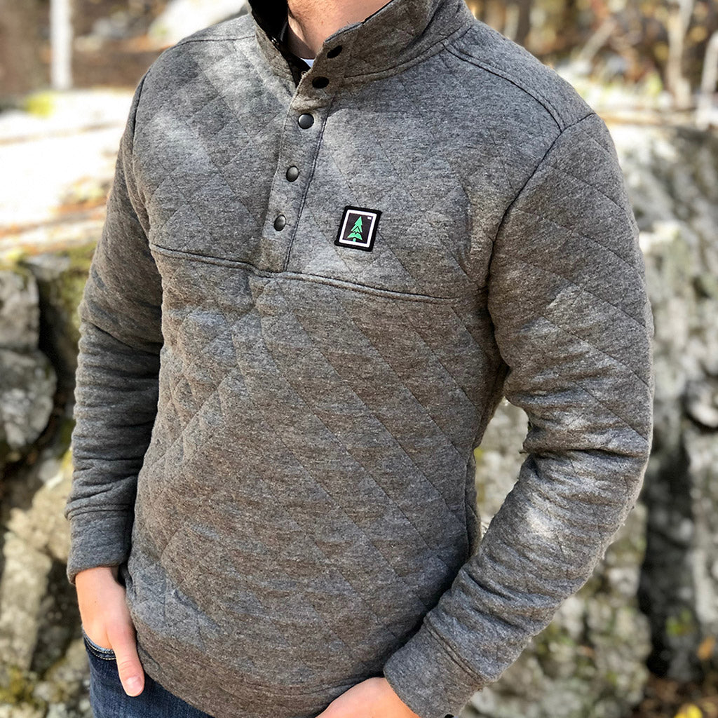 Mountain Tree Printed Patch <br> Men's Quilted Snap Pullover - The Happy Clothing Company... Outdoor apparel with a cause.