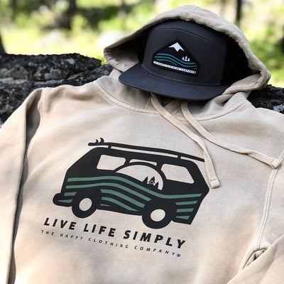 Live Life Simply (Ocean Edition) Inspired-Dye <br> Unisex Heavyweight Hooded Sweatshirt - The Happy Clothing Company... Outdoor apparel with a cause.