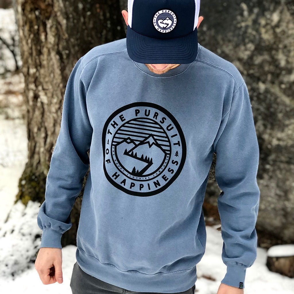 The Pursuit of Happiness Inspired-Dye <br> Unisex Heavyweight Crewneck Sweatshirt - The Happy Clothing Company... Outdoor apparel with a cause.