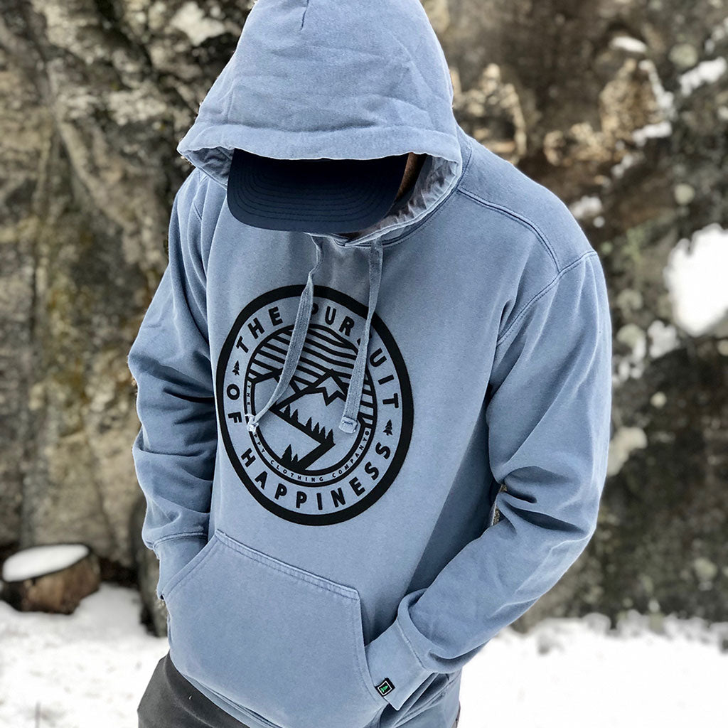 The Pursuit of Happiness Inspired-Dye <br> Unisex Heavyweight Hooded Sweatshirt - The Happy Clothing Company... Outdoor apparel with a cause.