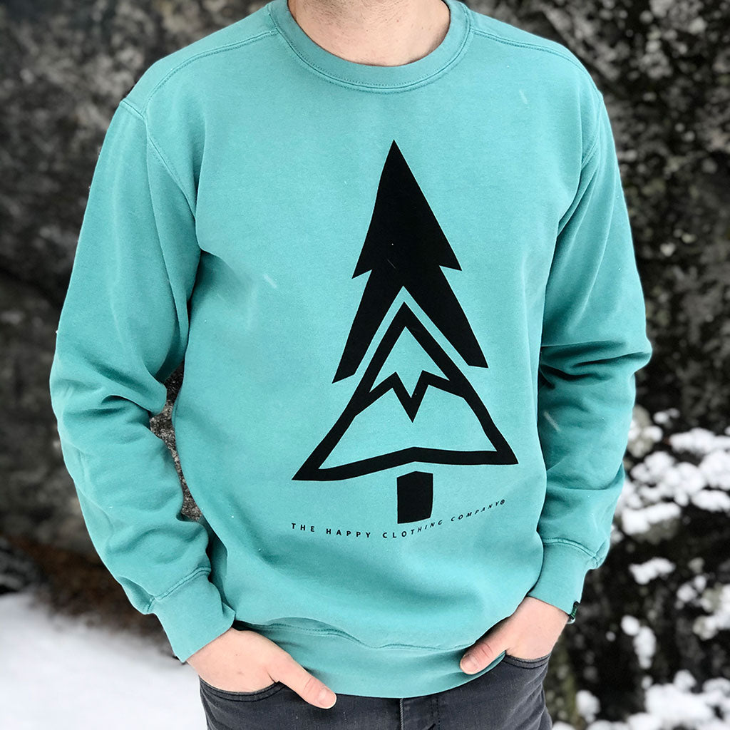 Mountain-Tree Inspired-Dye <br> Unisex Heavyweight Crewneck Sweatshirt - The Happy Clothing Company... Outdoor apparel with a cause.