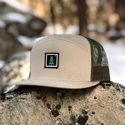 Mountain Tree Printed Patch <br> 7 Panel Cap - The Happy Clothing Company... Outdoor apparel with a cause.