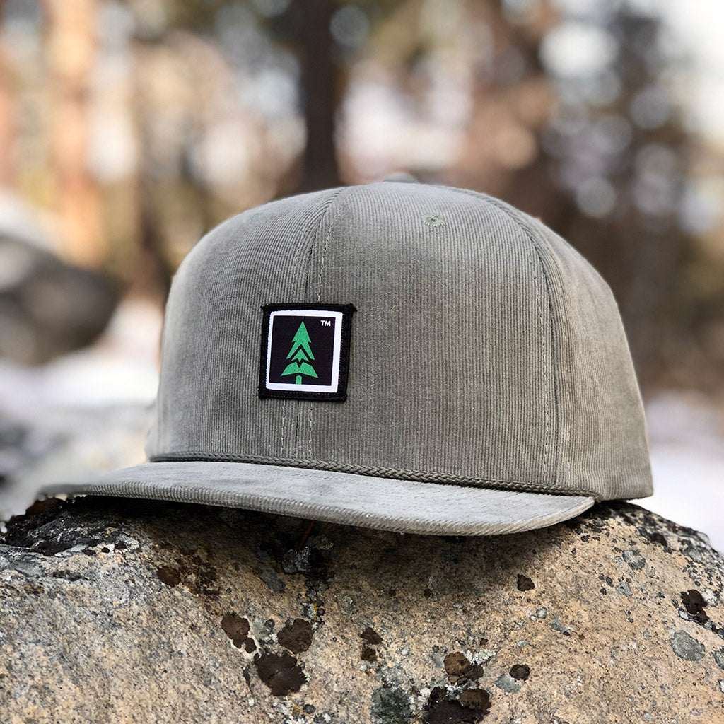 Mountain Tree Printed Patch <br> 6 Panel Corduroy Cap w/ Rope - The Happy Clothing Company... Outdoor apparel with a cause.