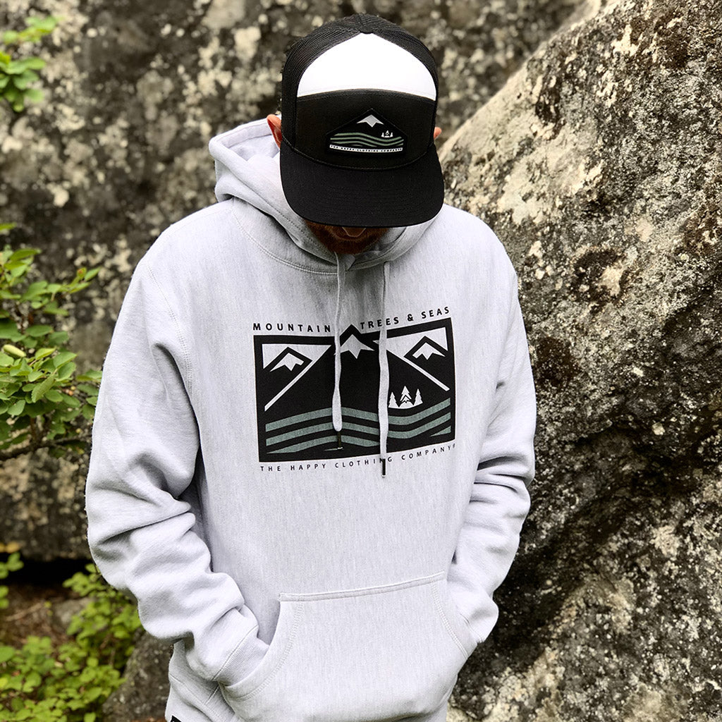 Mountains, Trees & Seas <br> Unisex ULTRA Heavyweight Hooded Sweatshirt - The Happy Clothing Company... Outdoor apparel with a cause.