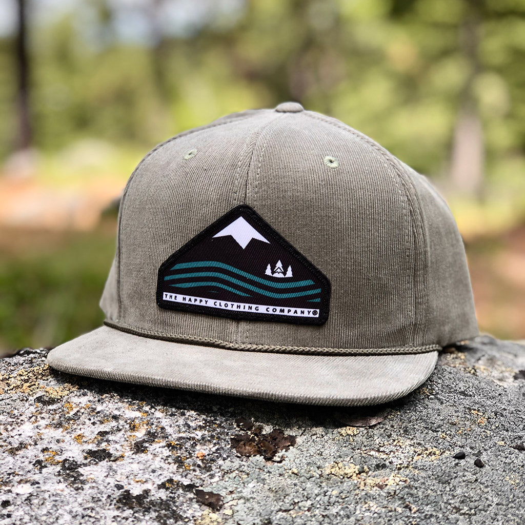 Mountains, Trees & Seas Printed Patch <br> 6 Panel Corduroy Cap w/ Rope - The Happy Clothing Company... Outdoor apparel with a cause.