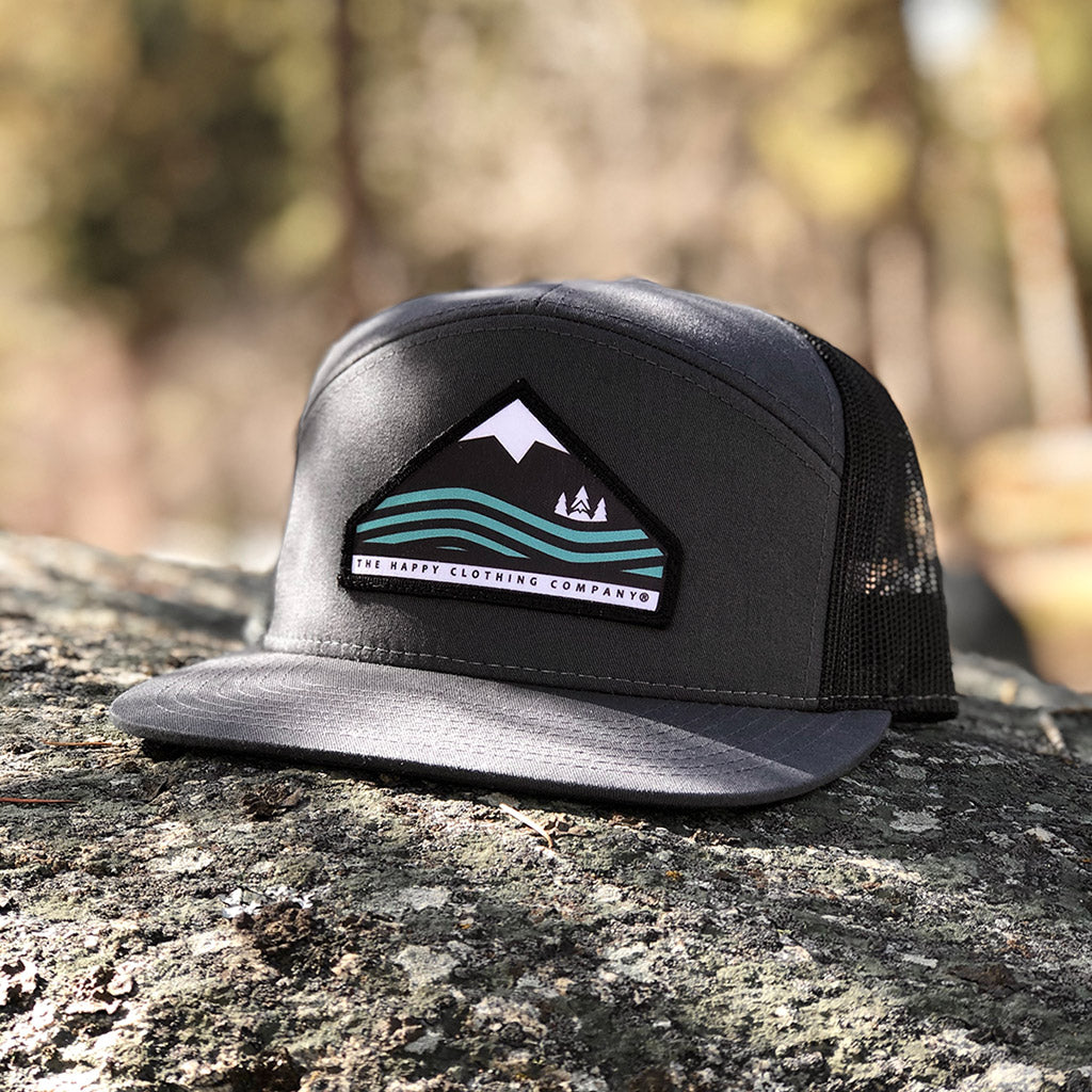 Mountains, Trees & Seas Printed Patch <br> 7 Panel Cap - The Happy Clothing Company... Outdoor apparel with a cause.