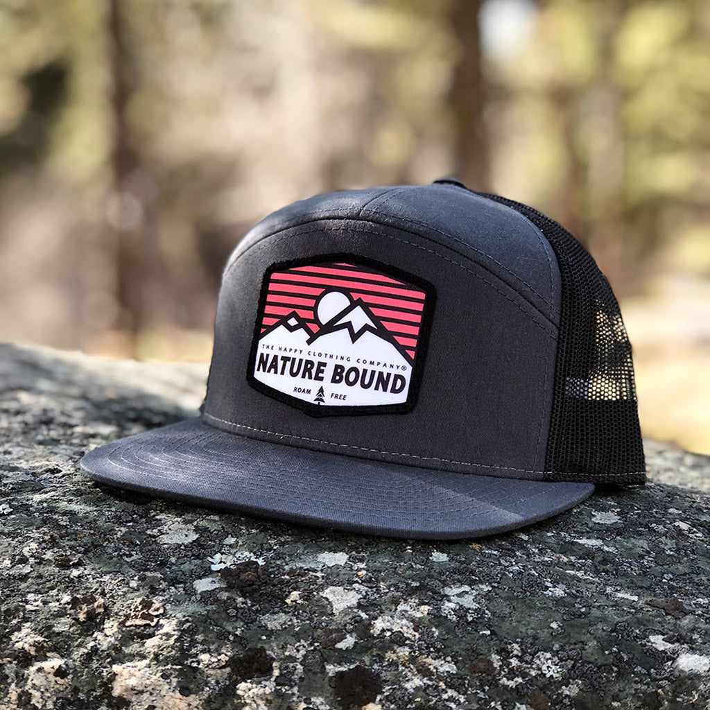 Nature Bound Printed Patch <br> 7 Panel Cap - The Happy Clothing Company... Outdoor apparel with a cause.