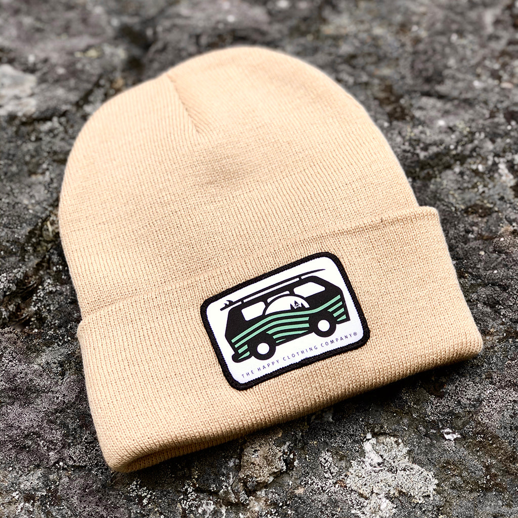 Live Life Simply (Ocean Van) Printed Patch <br> Knit Beanie