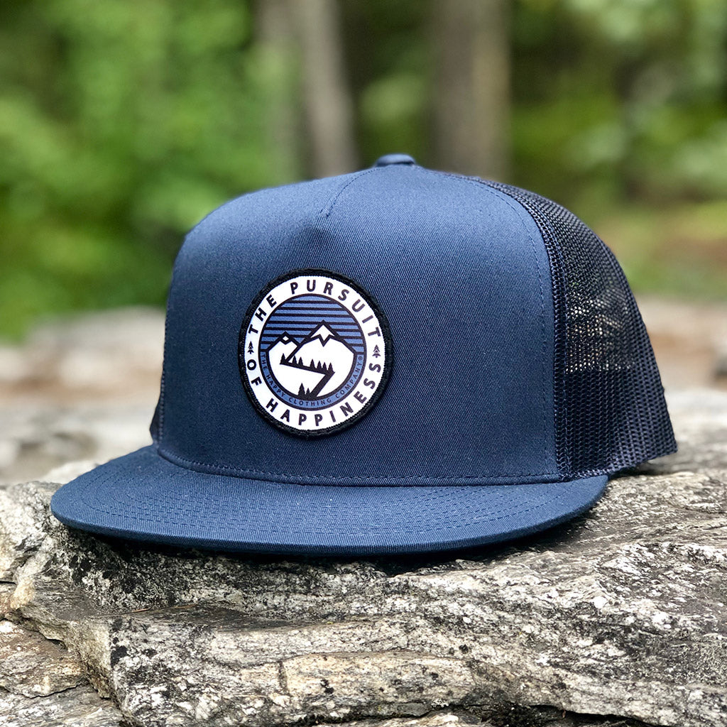 The Pursuit Of Happiness Printed Patch <br> High-Profile Snapback - The Happy Clothing Company... Outdoor apparel with a cause.