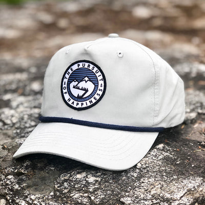The Pursuit Of Happiness Printed Patch <br> Mid-Profile Unstructured Snapback - The Happy Clothing Company... Outdoor apparel with a cause.