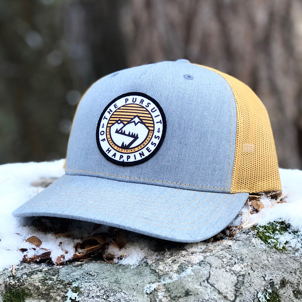 The Pursuit Of Happiness Printed Patch <br> 5 Panel Cap - The Happy Clothing Company... Outdoor apparel with a cause.