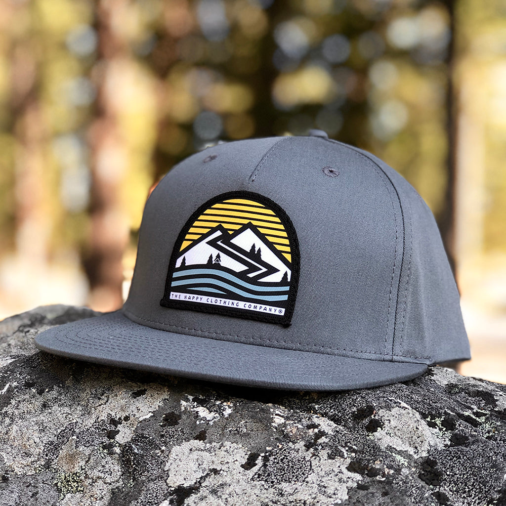 Happiness Is Out There Printed Patch <br> Pinch Front Twill Snapback