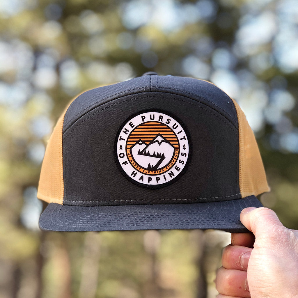 The Pursuit Of Happiness Printed Patch <br> 7 Panel Cap - The Happy Clothing Company... Outdoor apparel with a cause.
