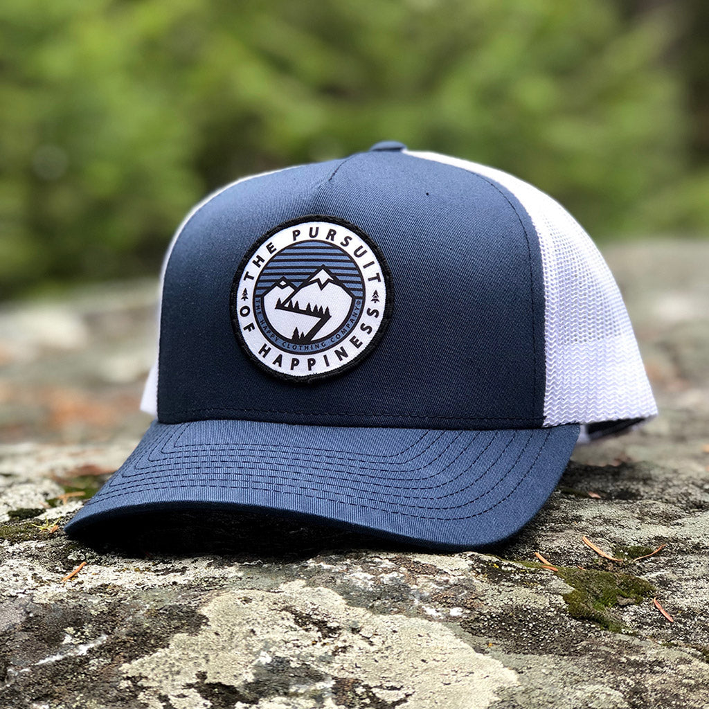 The Pursuit Of Happiness Printed Patch <br> Mid-Profile Snapback - The Happy Clothing Company... Outdoor apparel with a cause.