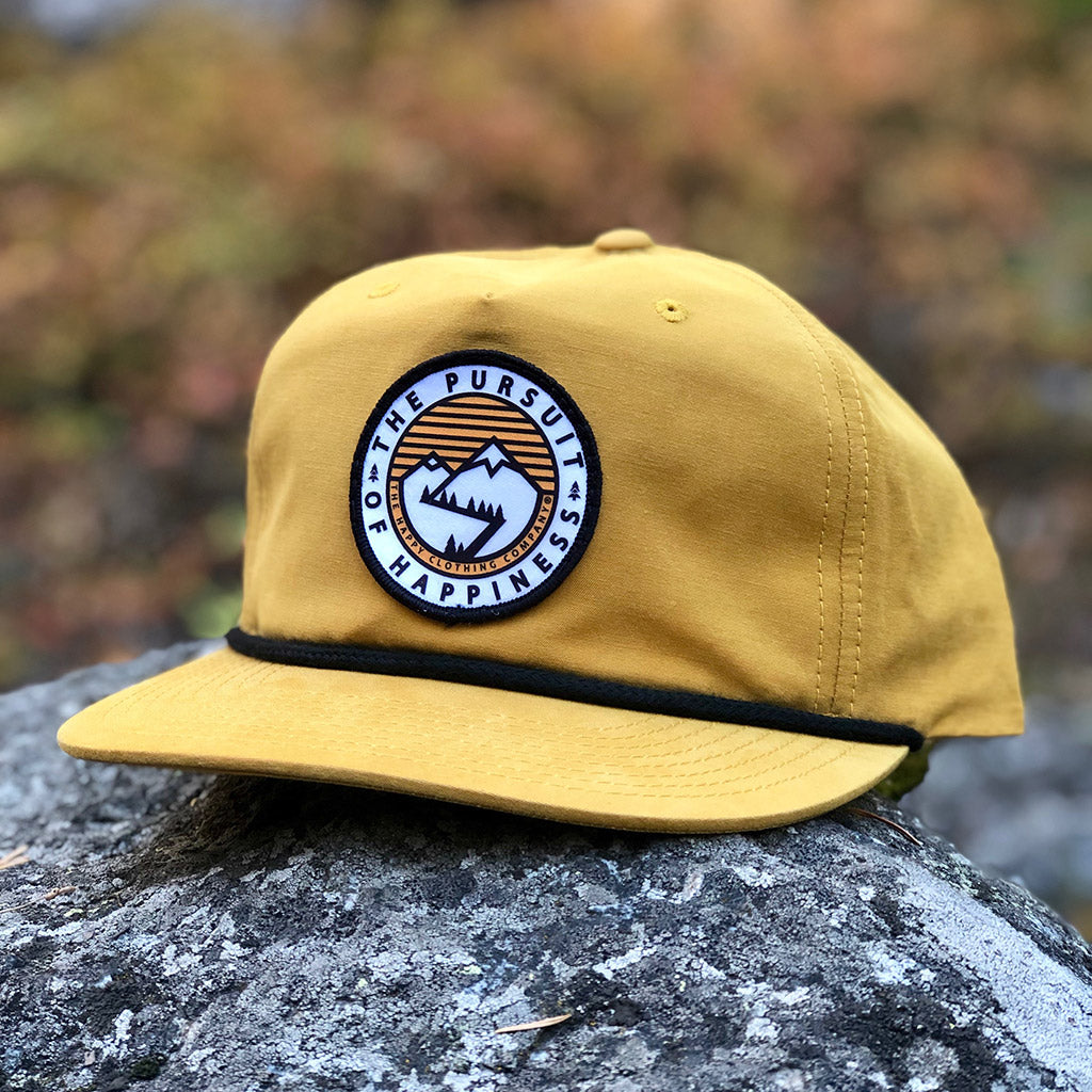 The Pursuit Of Happiness Printed Patch <br> 5 Panel Vintage Cap with Rope