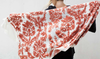 Embroidered Coral Shawl
