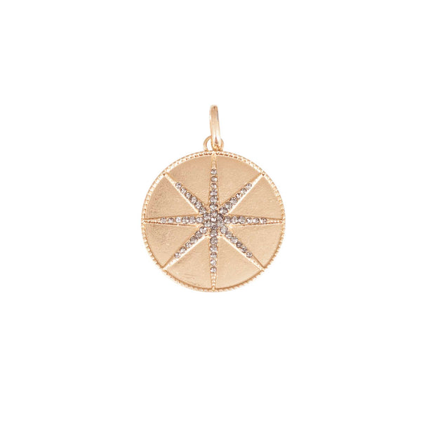 Gold Pave Starburst Disc Charm