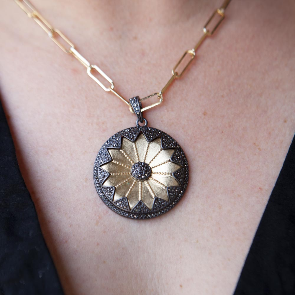Mixed Metal Floral Charm