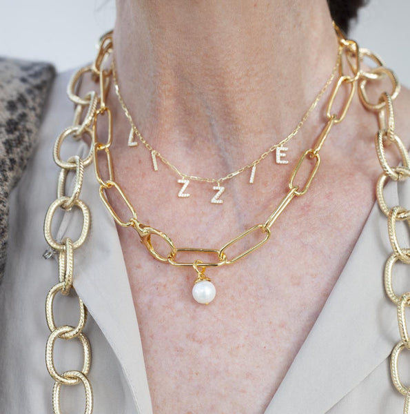 Pearl Paper Clip Necklace