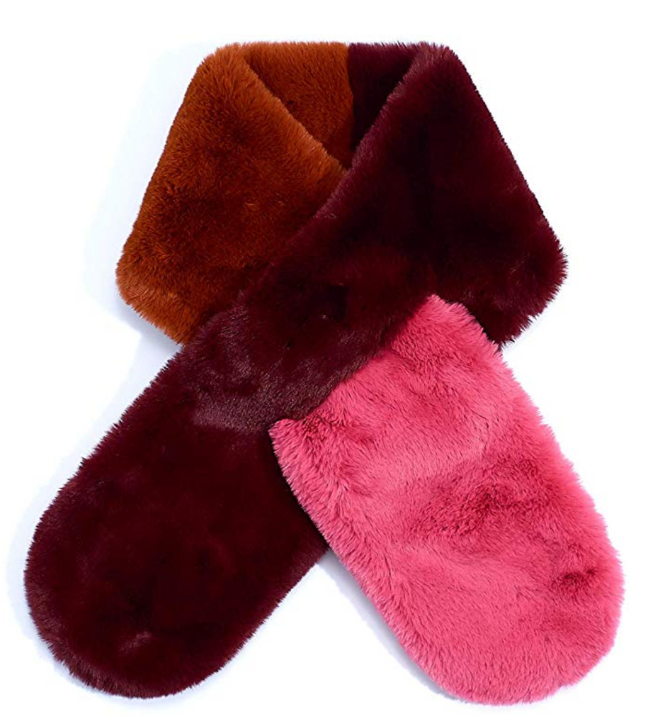 Boysenberry Pull Through Color Block Faux Fur Scarf