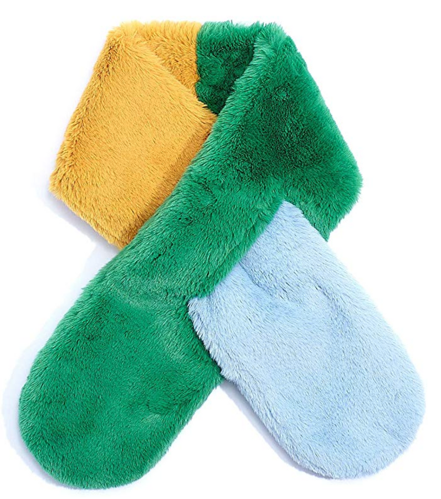 Jade Pull Through Color Block Faux Fur Scarf