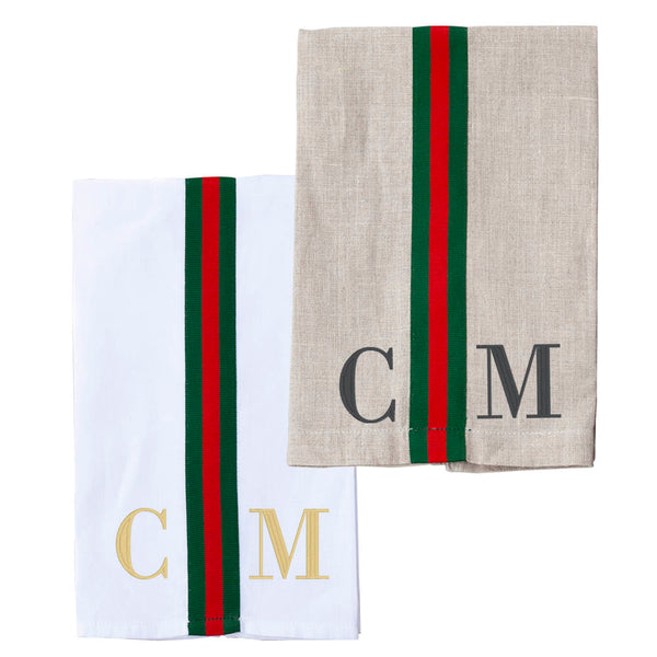 Monogrammed Striped Hand Towel