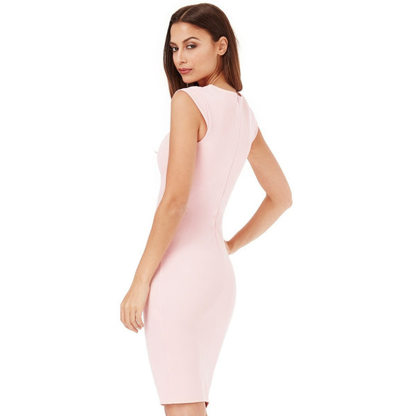 Paola Pleated Neckline Cap Sleeve Midi παστελ ροζ φόρεμα