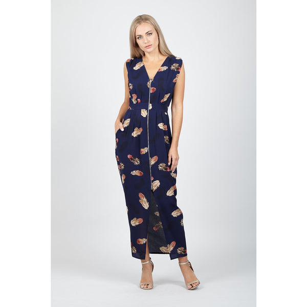 8f43c67a42a6 Lydia Navy Zip Front Midi φορεμα