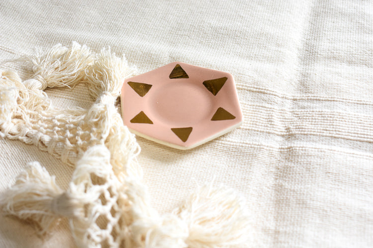Blush + 22kt Gold Porcelain Ring Dish - APT F x The Object Enthusiast