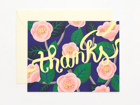 PINK CAMELLIA 'THANKS' CARD - APT F