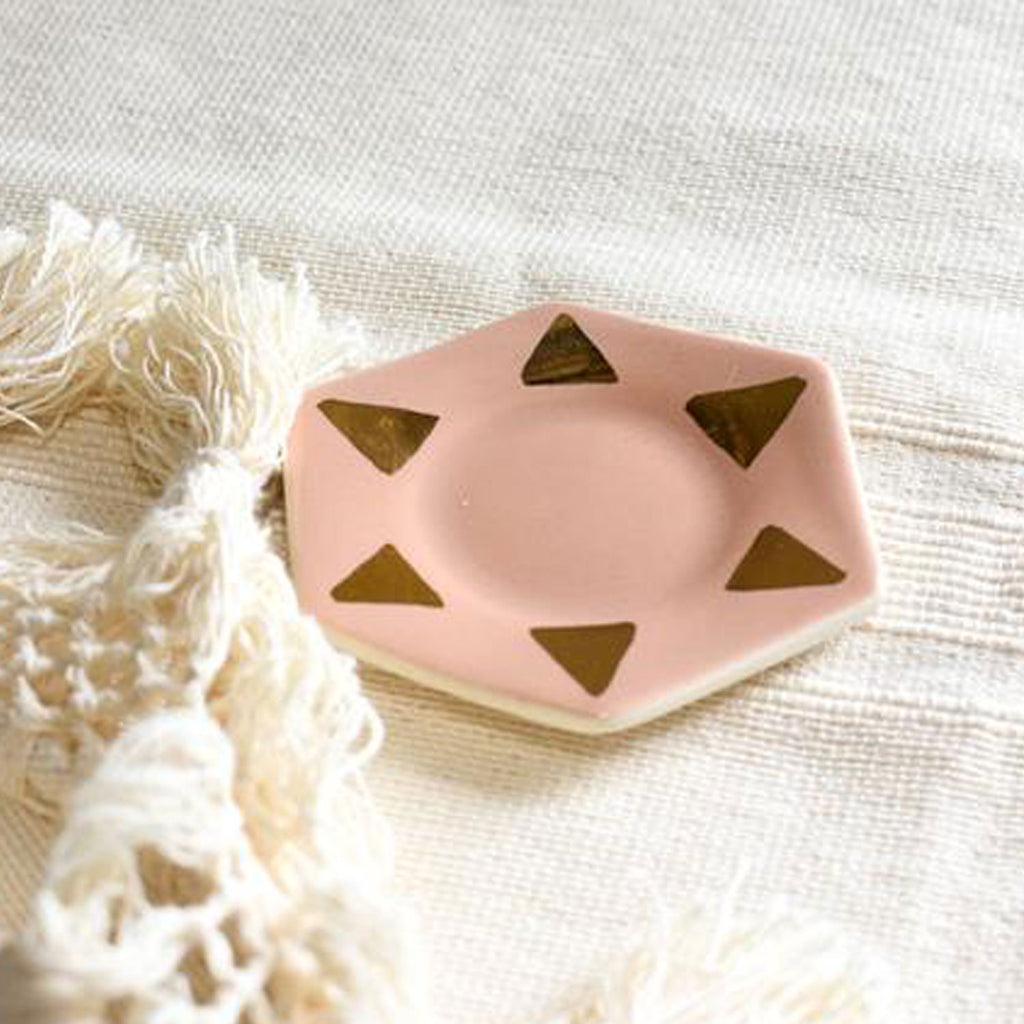 Blush + 22kt Gold Porcelain Ring Dish