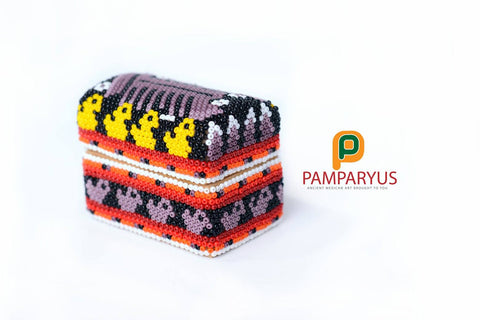 Mini Wooden box Huichol Beaded Huichol - Pamparyus