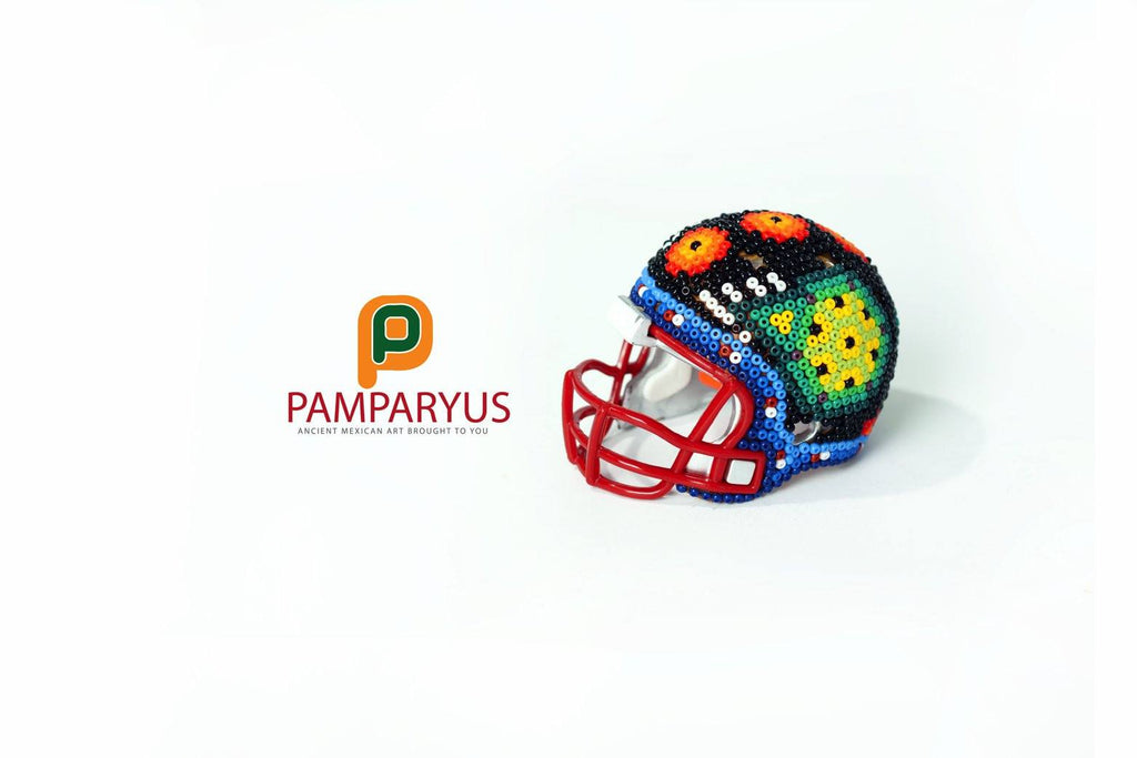 Mini Football helmet huichol Beaded Arte Huichol - Pamparyus