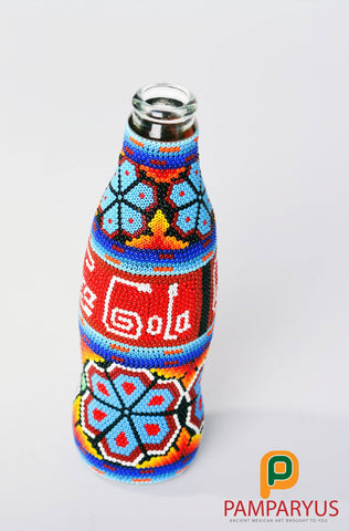 Huichol Beaded Collectible Coca Cola Bottle Arte Huichol - Pamparyus