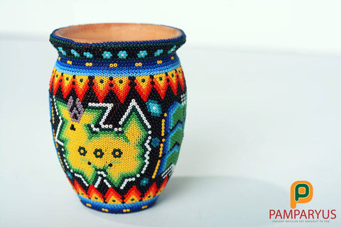 Huichol Beaded Handmade Clay Jar Huichol - Pamparyus