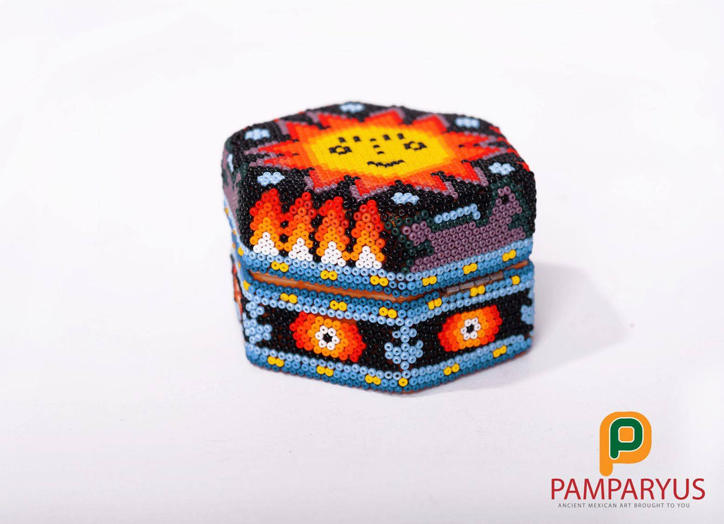 Huichol Beaded Hexagonal Wood Recipient Arte Huichol - Pamparyus