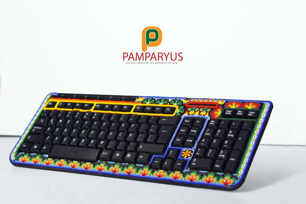 Computer Huichol Beaded Keyboard Arte Huichol - Pamparyus
