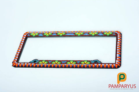 Huichol Beaded Handmade Car holder plate Arte Huichol - Pamparyus