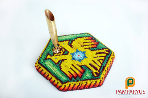 Huichol Beaded Office pen holder Arte Huichol - Pamparyus