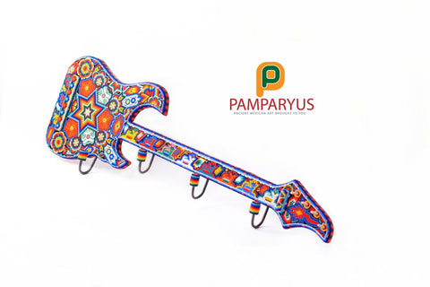 Guitar Huichol Beaded Wooden Hanger Arte Huichol - Pamparyus